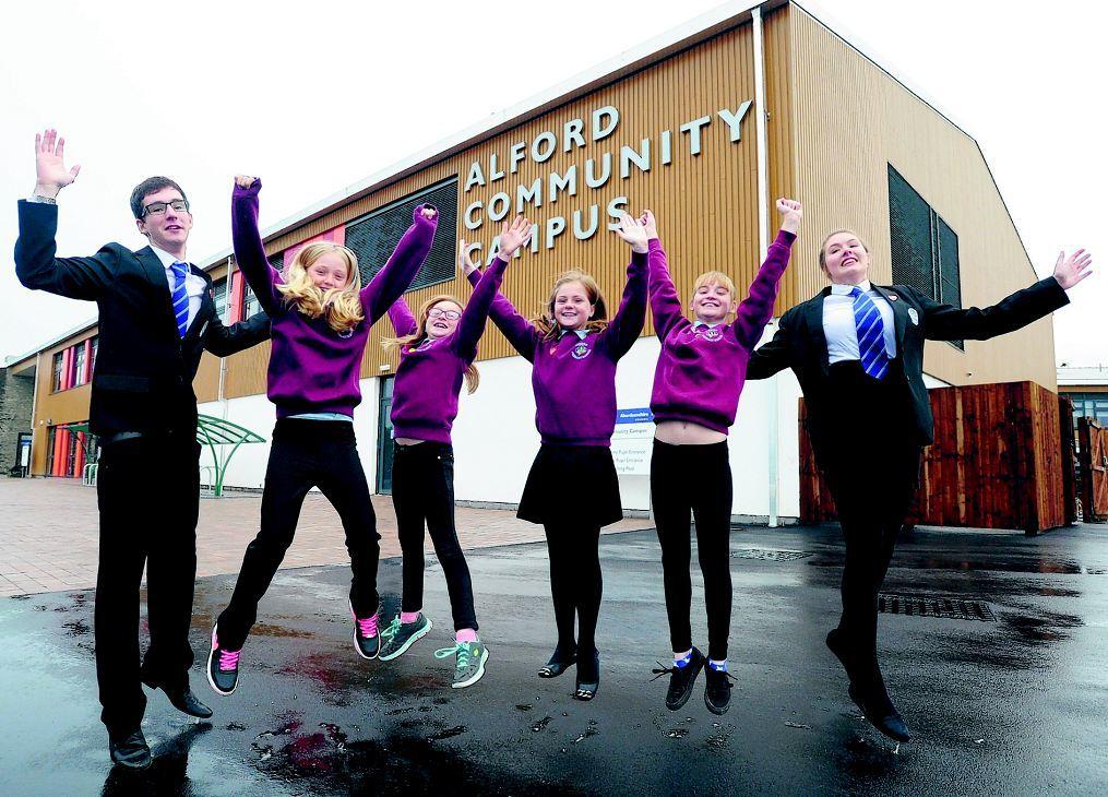 Pictured are from left, head boy Cameron Grant, 17, Lara Taylor, 11, Larna Morris, 11, McKenzie Anderson, 11, Ellen Robertson and head girl Ellen Davidson, 17.