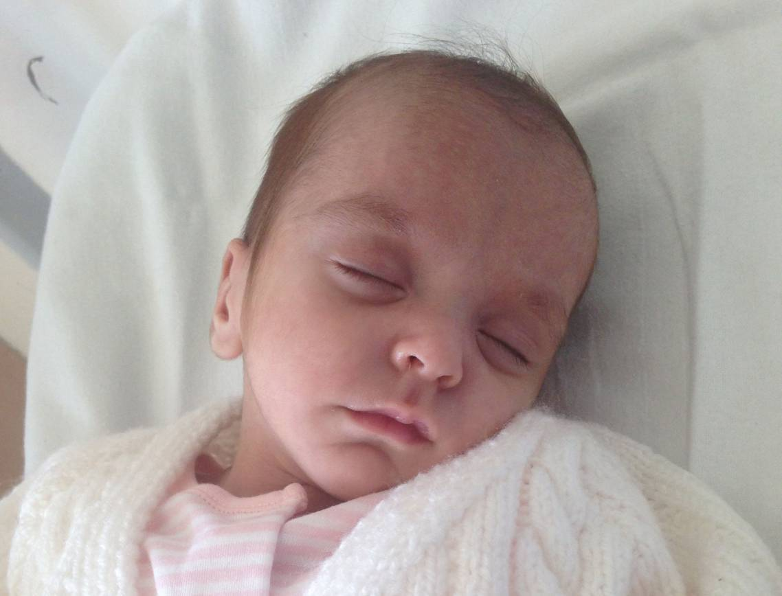 A picture of the baby found in a cardboard box by a member of the public