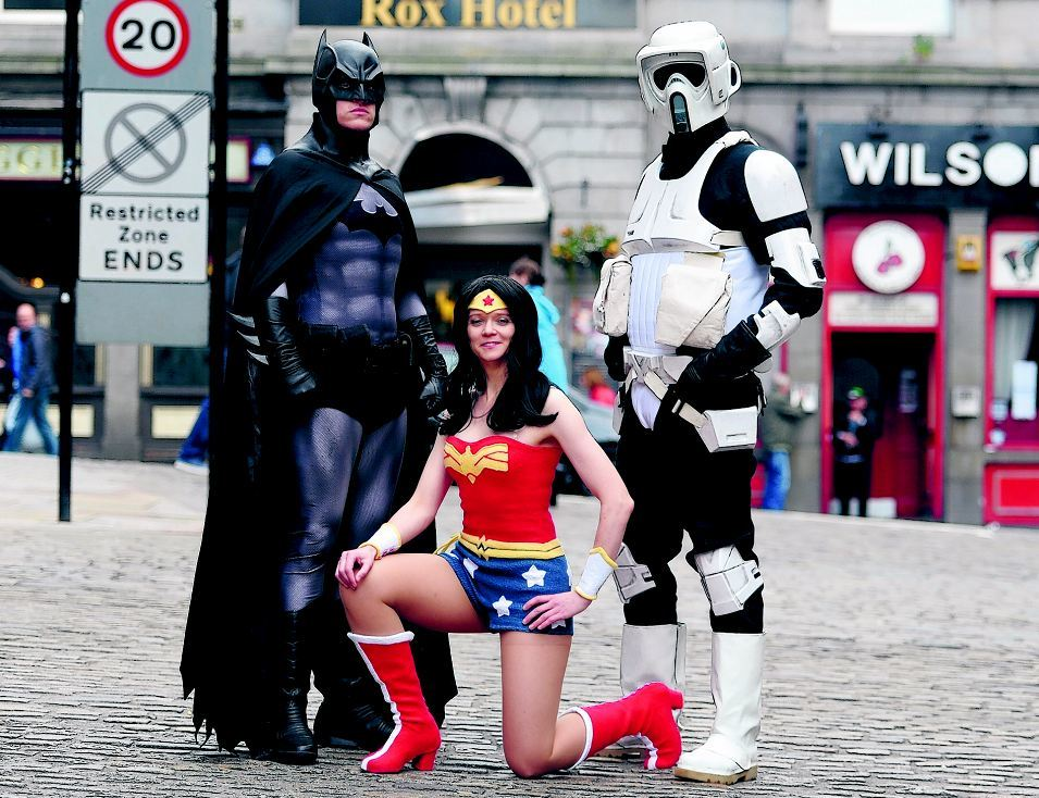 Pictured are Victoria Noad (Wonder Woman), Ian Cushnie (Batman) and Neil McAndrew (Star Wars Stormtrooper) outside the Rox hotel where the very first cosplay event will be held named Cos-Con North.