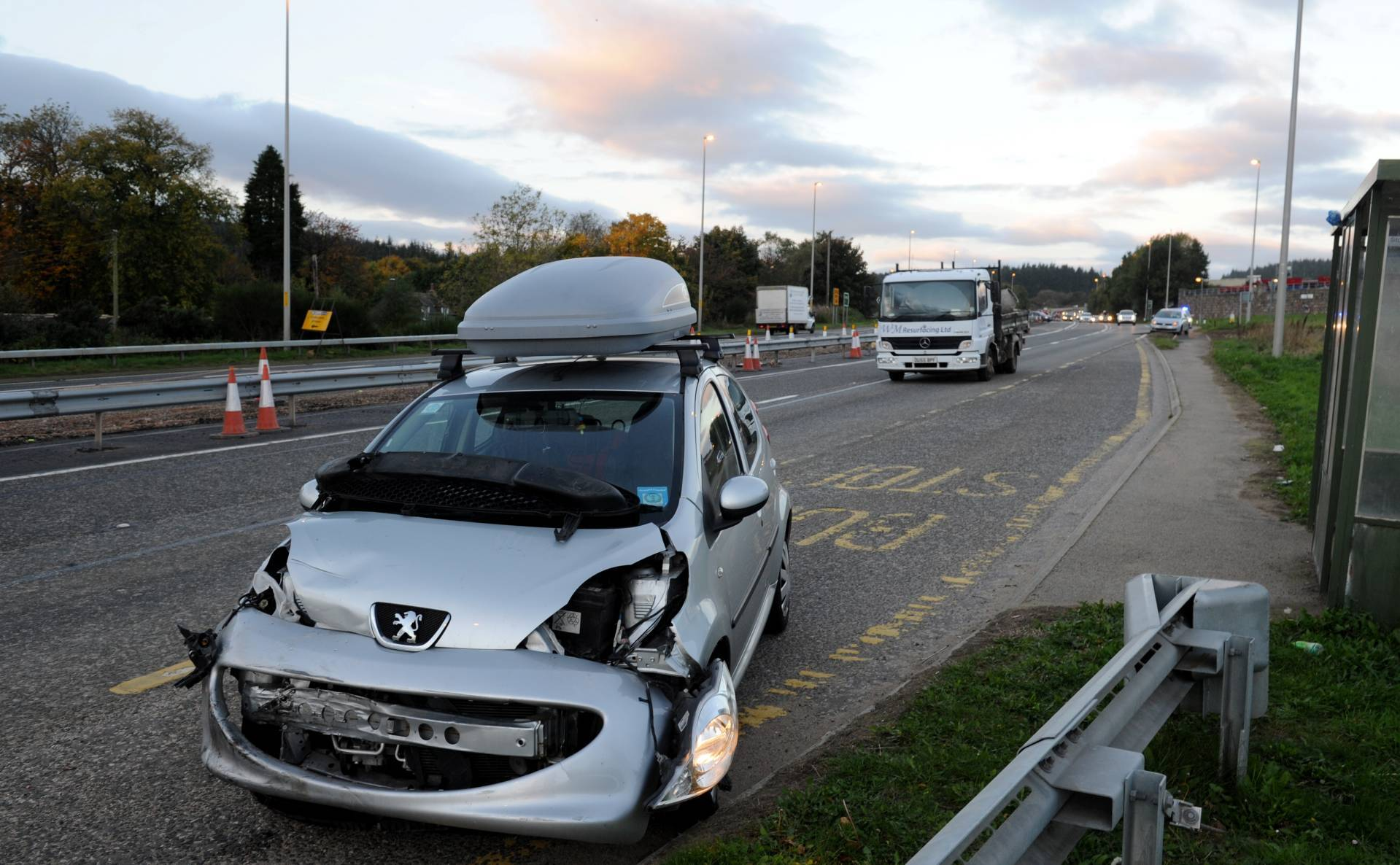 One of the vehicles involved in the crash on the A96.