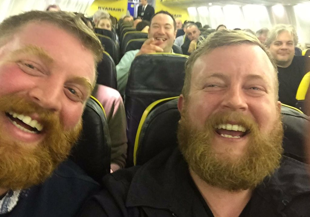 Neil Thomas Douglas with his bearded doppelganger. Picture by @leebeattie