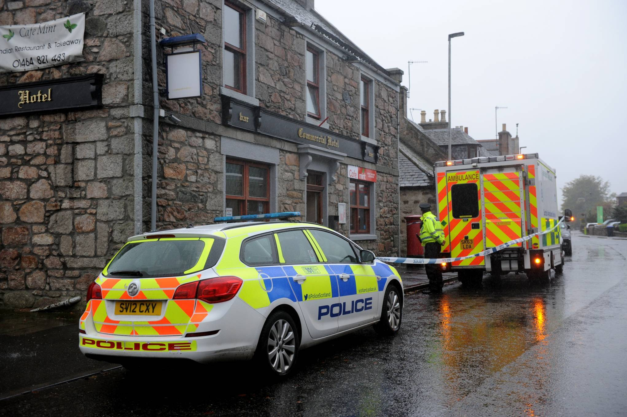 Emergency services were called to Commercial Hotel in Insch.