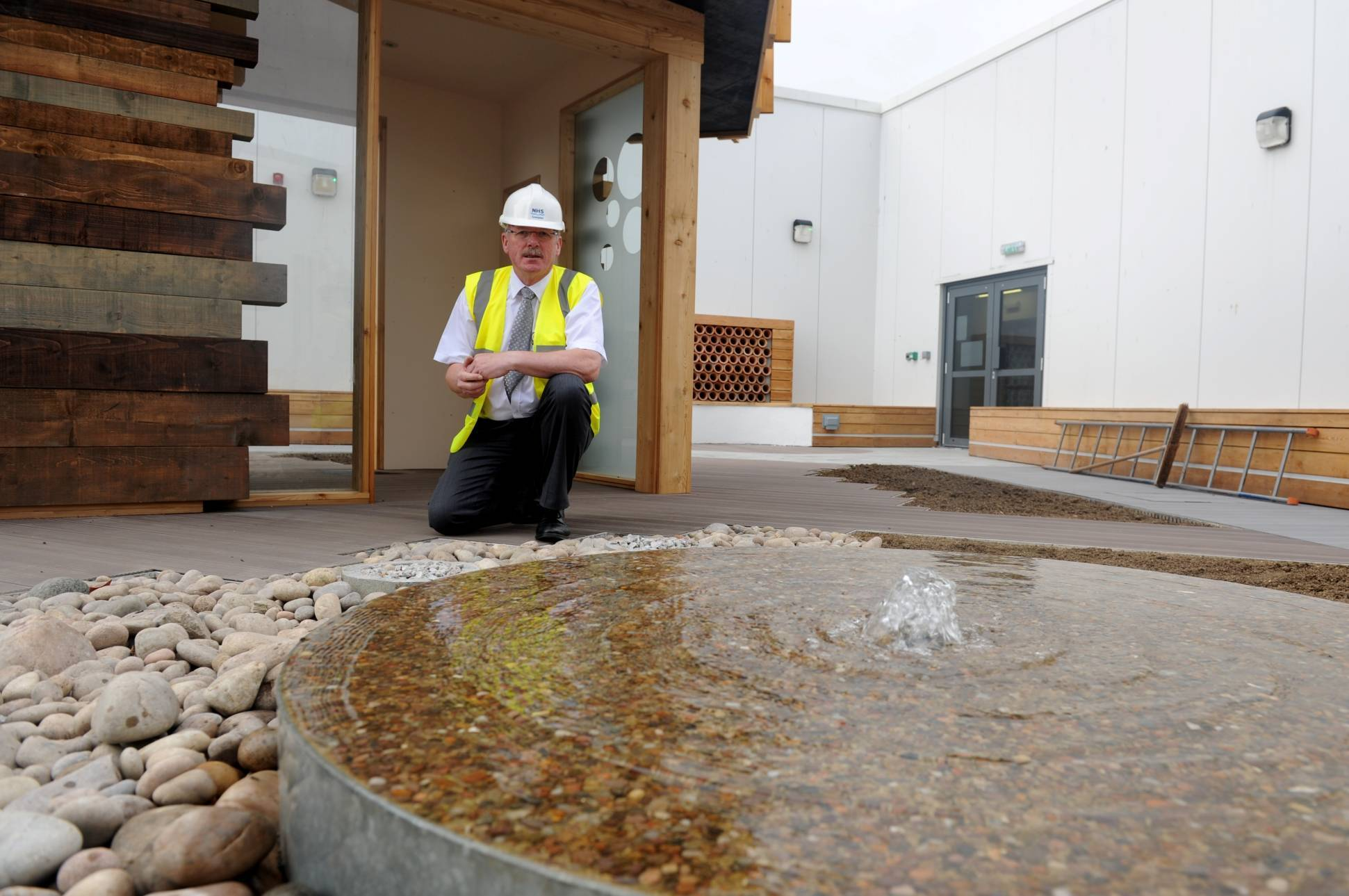Rev James Falconer at the new Aberdeen Royal Infirmary Therapeutic Roof Garden.