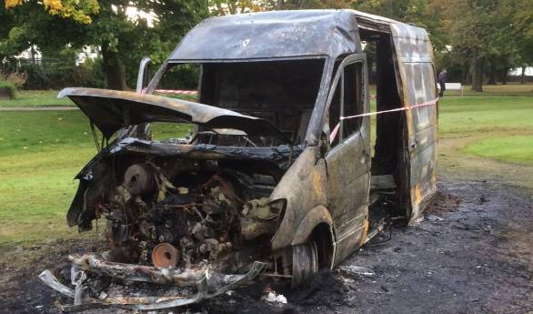 The burnt out van was found in Stewart Park.