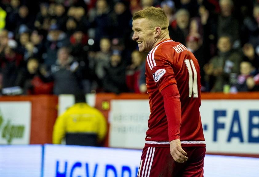 Aberdeen's Jonny Hayes celebrates his goal