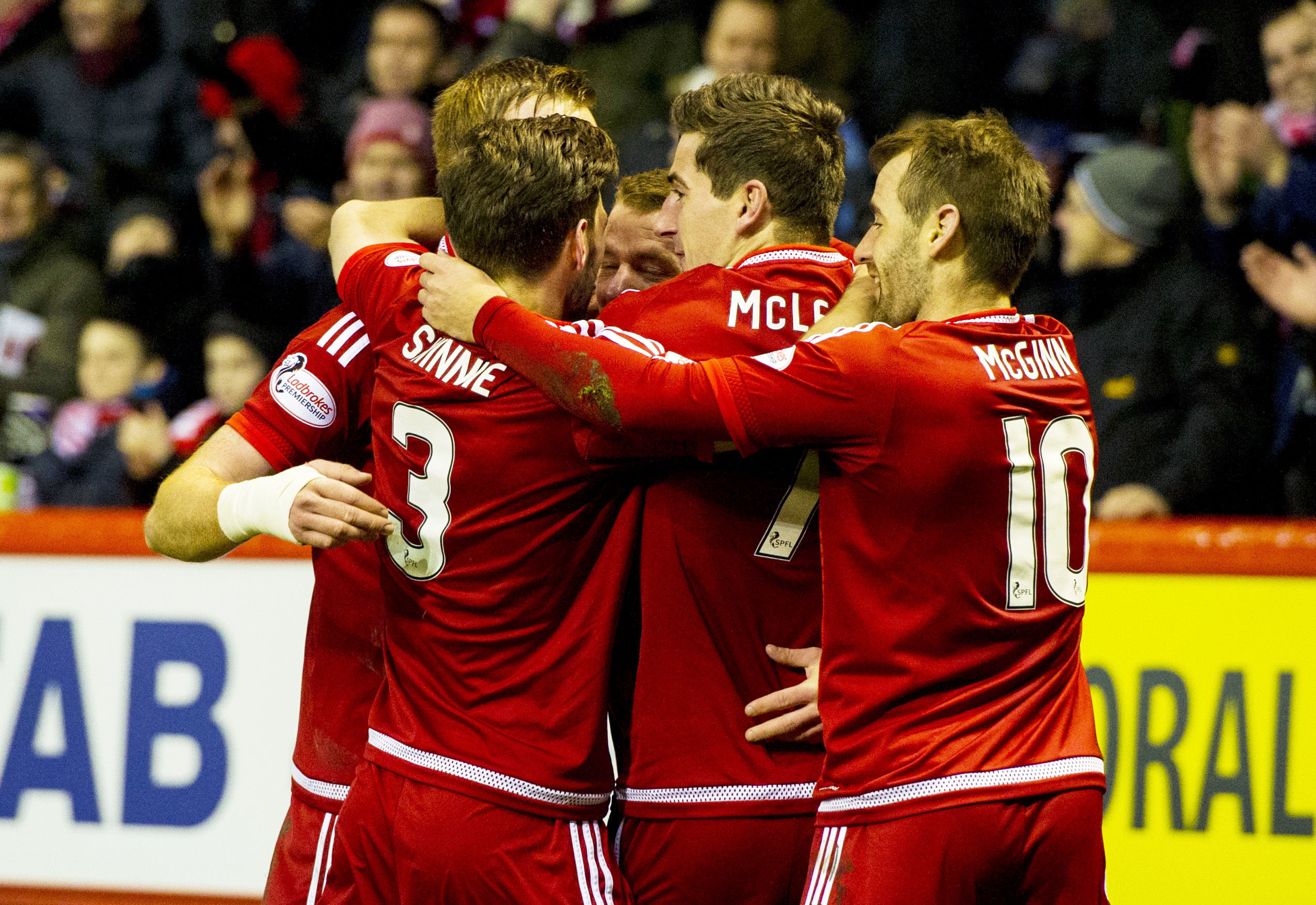 Aberdeen's Jonny Hayes (centre) celebrates big goal with his team-mates
