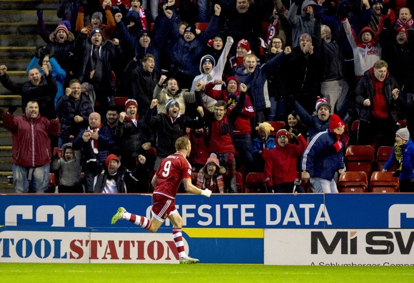 Aberdeen striker Adam Rooney celebrates his goal