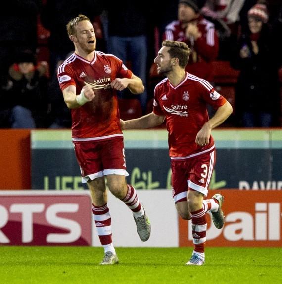 Aberdeen striker Adam Rooney (left) celebrates his goal with team-mate Graeme Shinnie