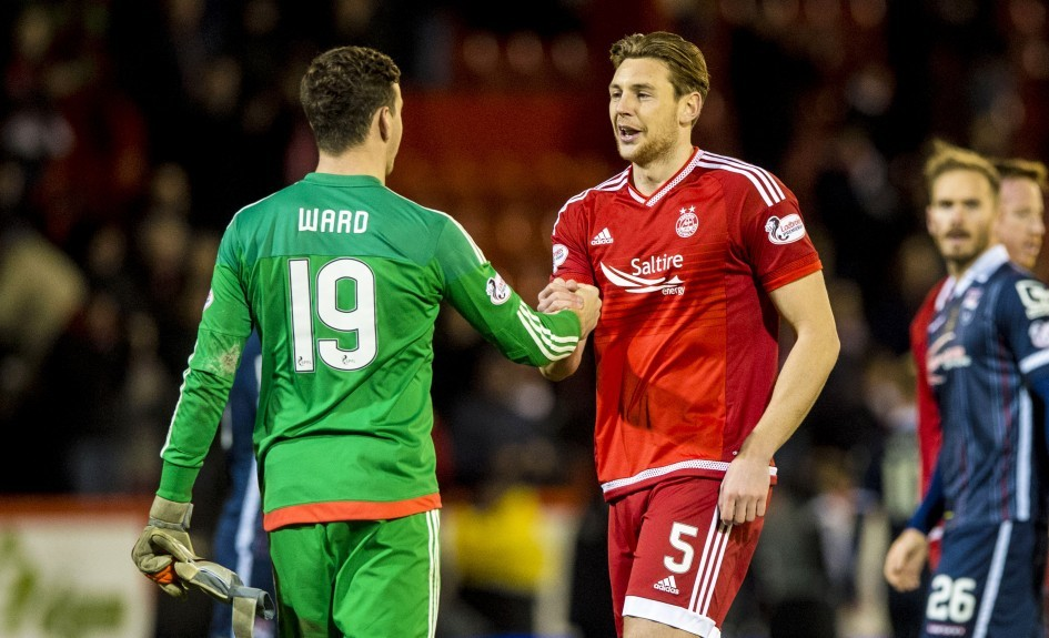 Aberdeen pair Danny Ward (left) and Ash Taylor celebrate at full-time