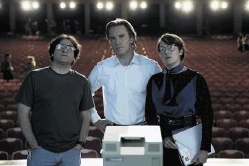 From left, Michael Stuhlbarg, Michael Fassbender and Kate Winslet in a scene from Danny Boyle's new film, Steve Jobs.