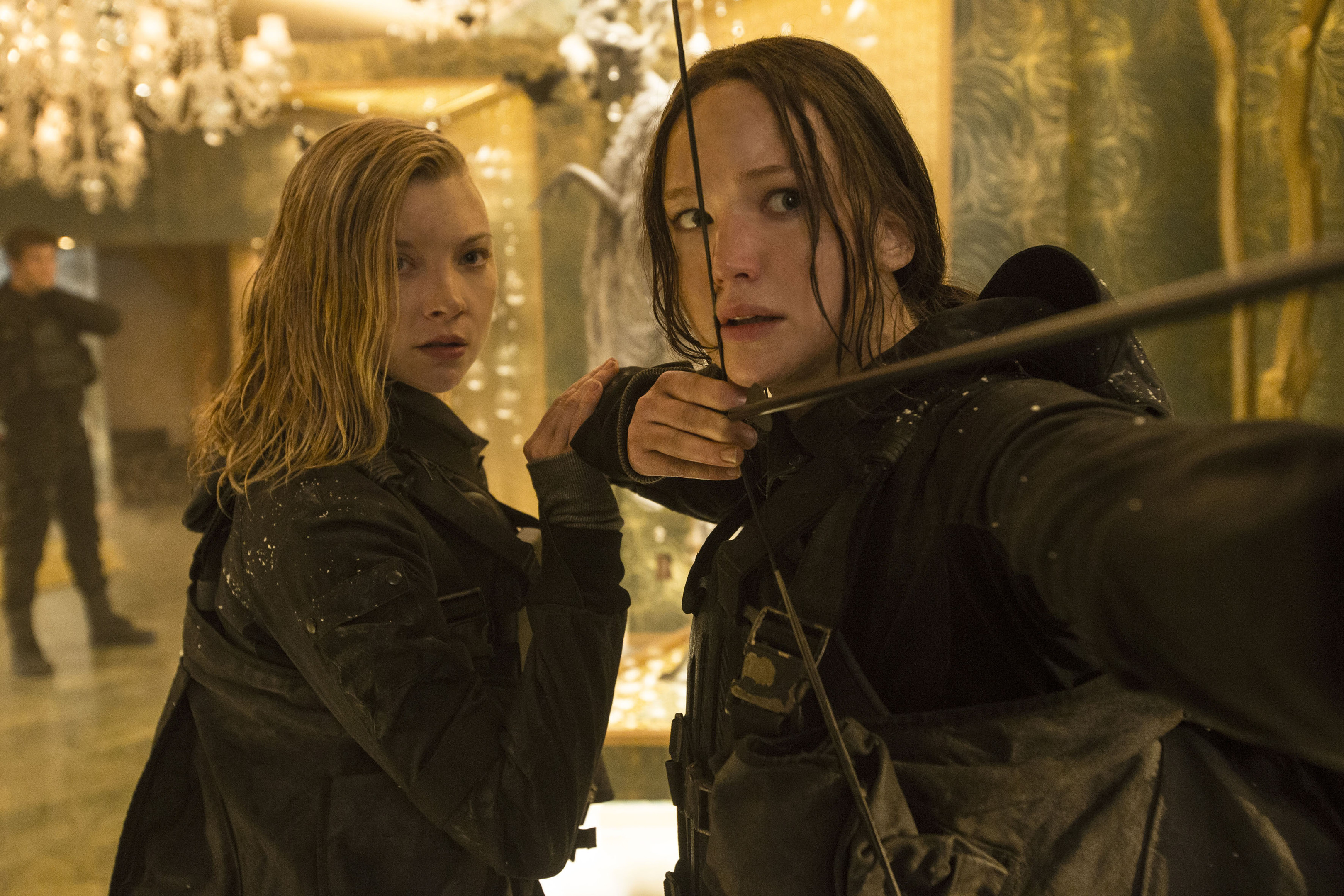 fight to the end: Natalie Dormer, as Cresida, and Jennifer Lawrence, as Katniss Everdeen, in a scene from The Hunger Games: Mockingjay – Part 2.