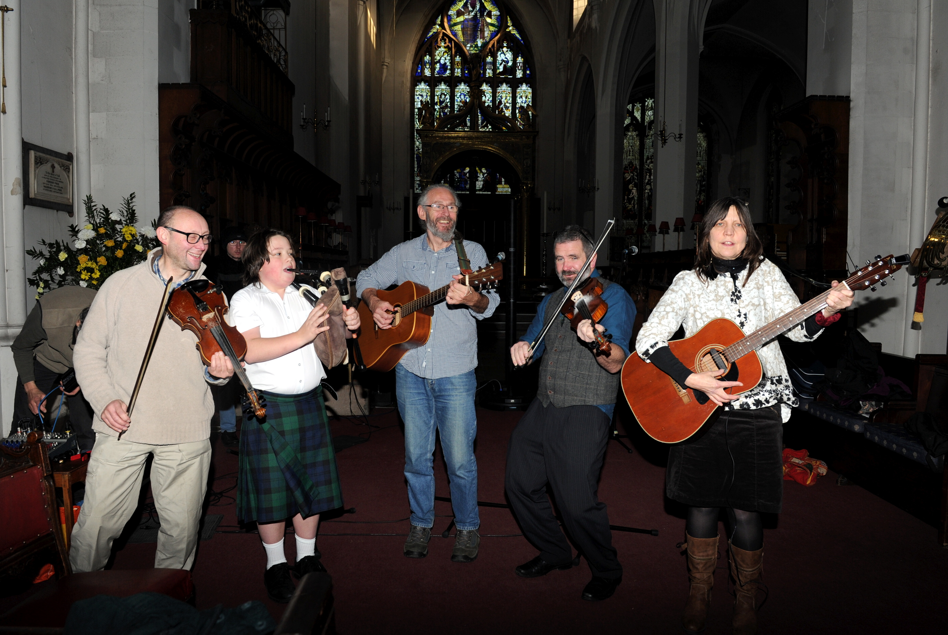 From left, Nigel Lammas, Arthur Coates, Wes Gibson, Drew Robertson and Annie Greig at St Andrew's Cathedral.