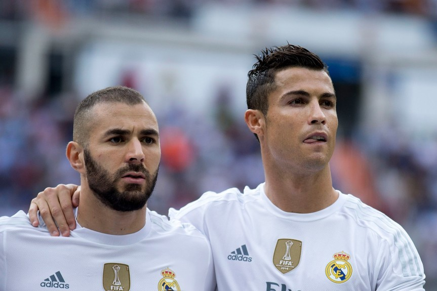 Karim Benzema and Cristiano Ronaldo pose together at the line up.