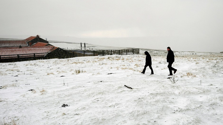 Snow on the North Yorkshire Moors above Hutton le Hole as the whole of the UK has been put on a yellow weather warning.