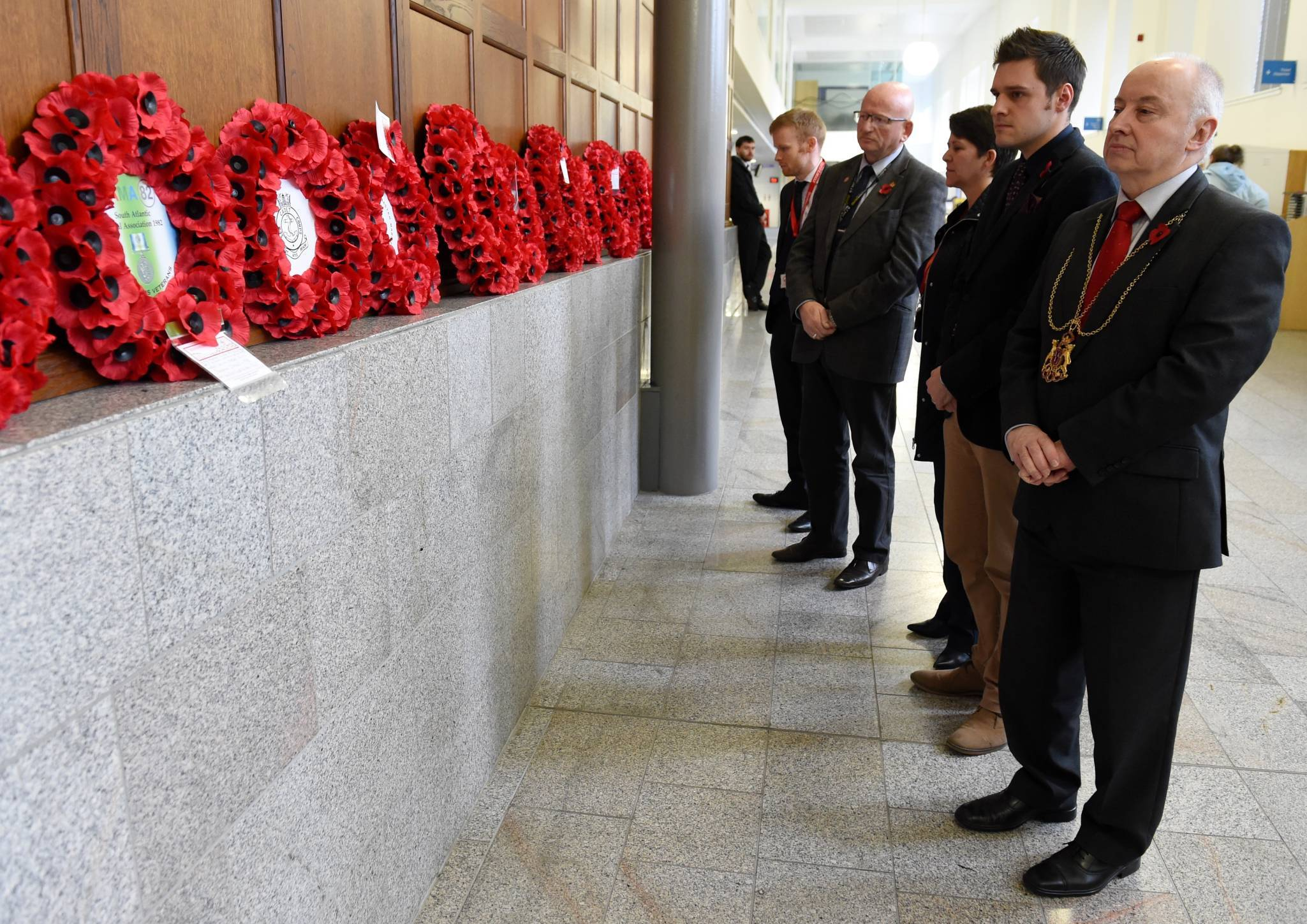 Aberdeen Lord Provost George Adam and council staff mark Armistice Day