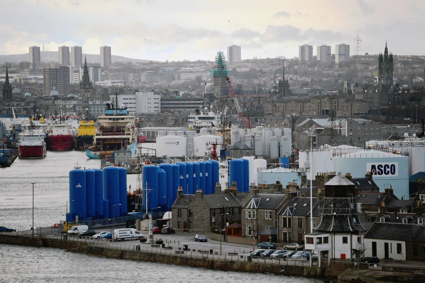 Aberdeen's oil industry has been hit by falling oil prices.