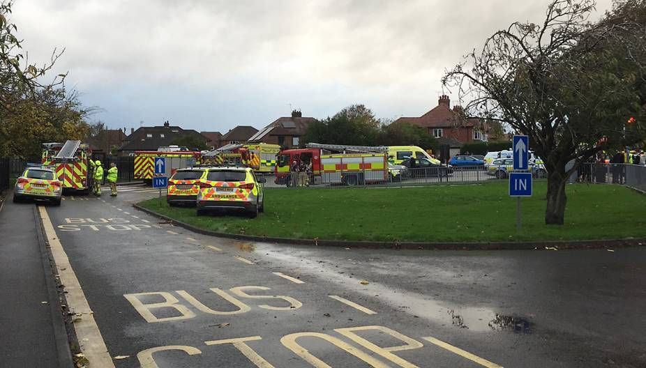 Emergency services outside Outwood Academy School in Ripon, North Yorkshire