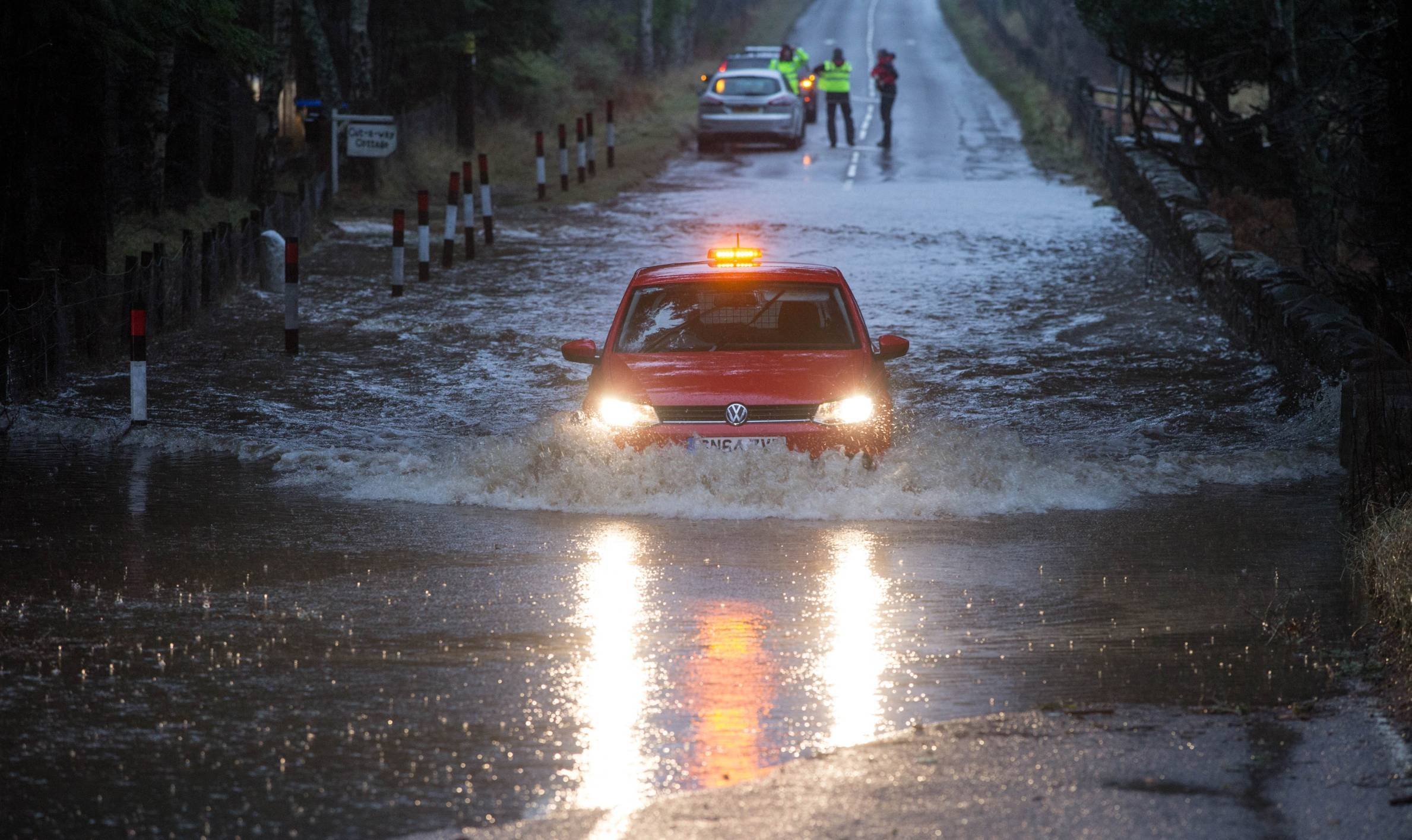 The A93 near Ballater was badly flooded on Wednesday.