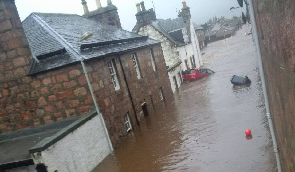 Ballater has been hit by flooding