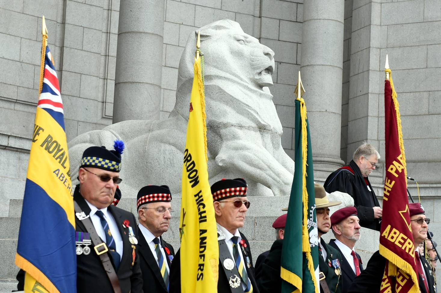 Remembrance Sunday Parade and Service at the Aberdeen War Memorial, Cowdray Hall, Aberdeen.