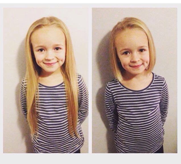 Ava Rose before and after her haircut.