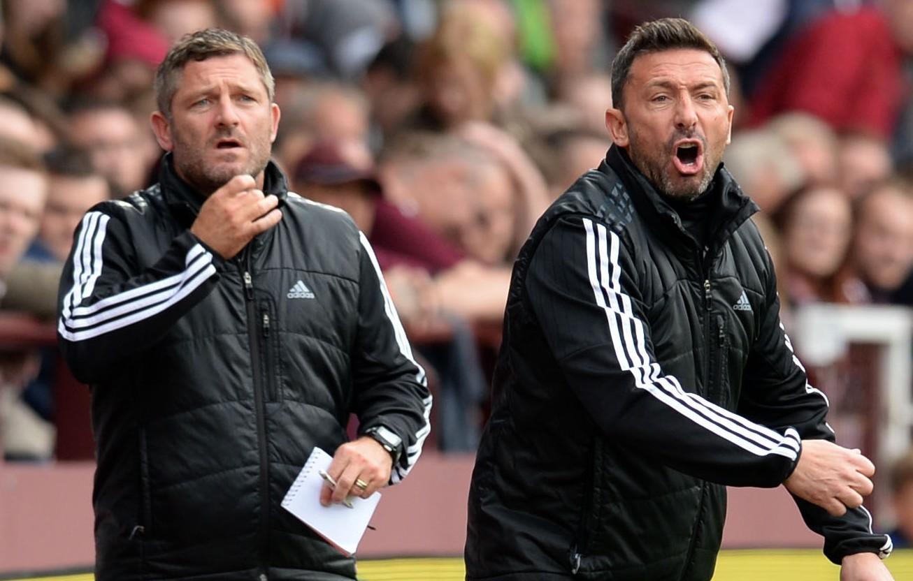 Tony Docherty and Dons boss Derek McInnes, right.