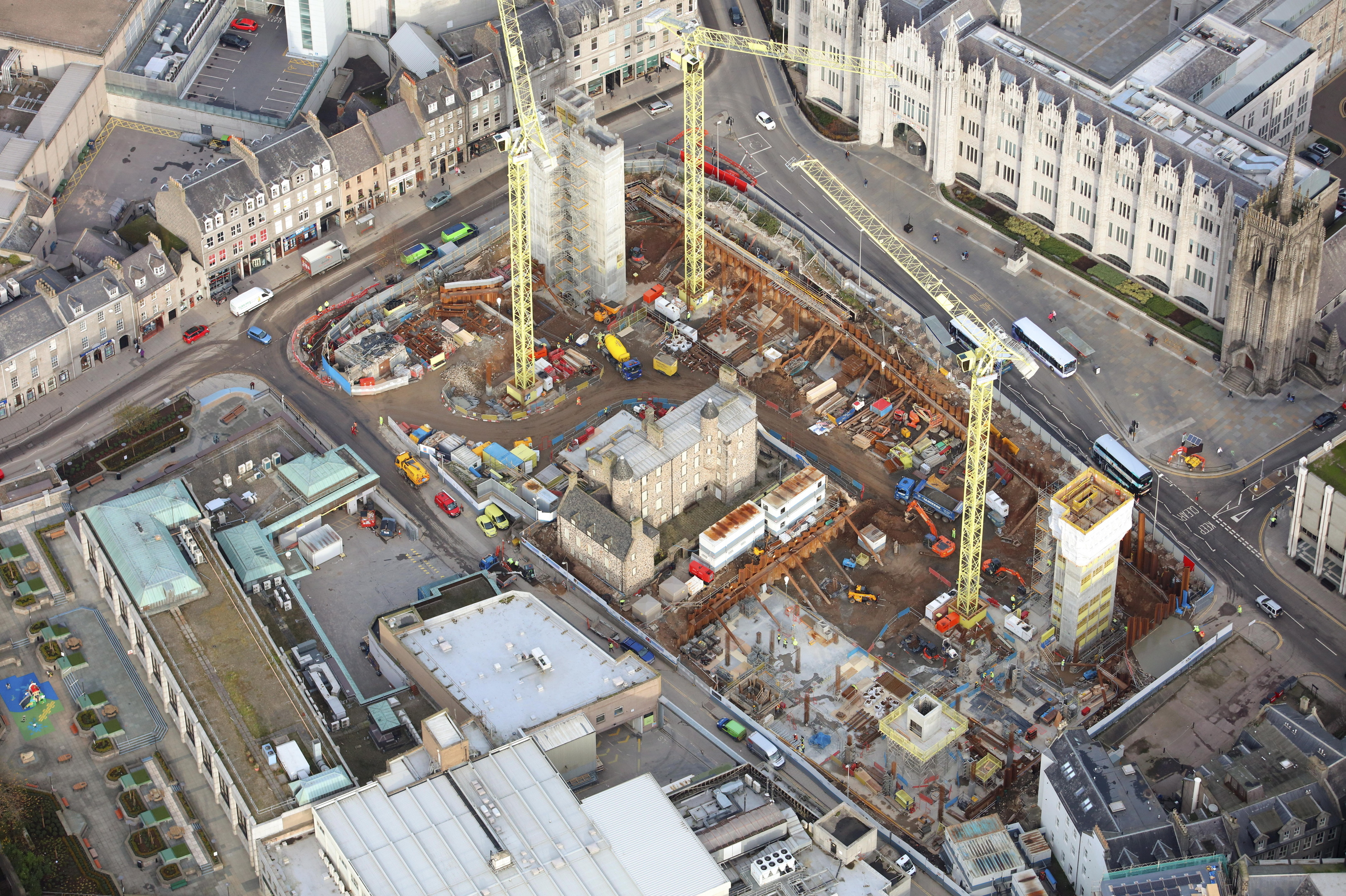 Construction on the city centre  Marischal Square project is well under way.