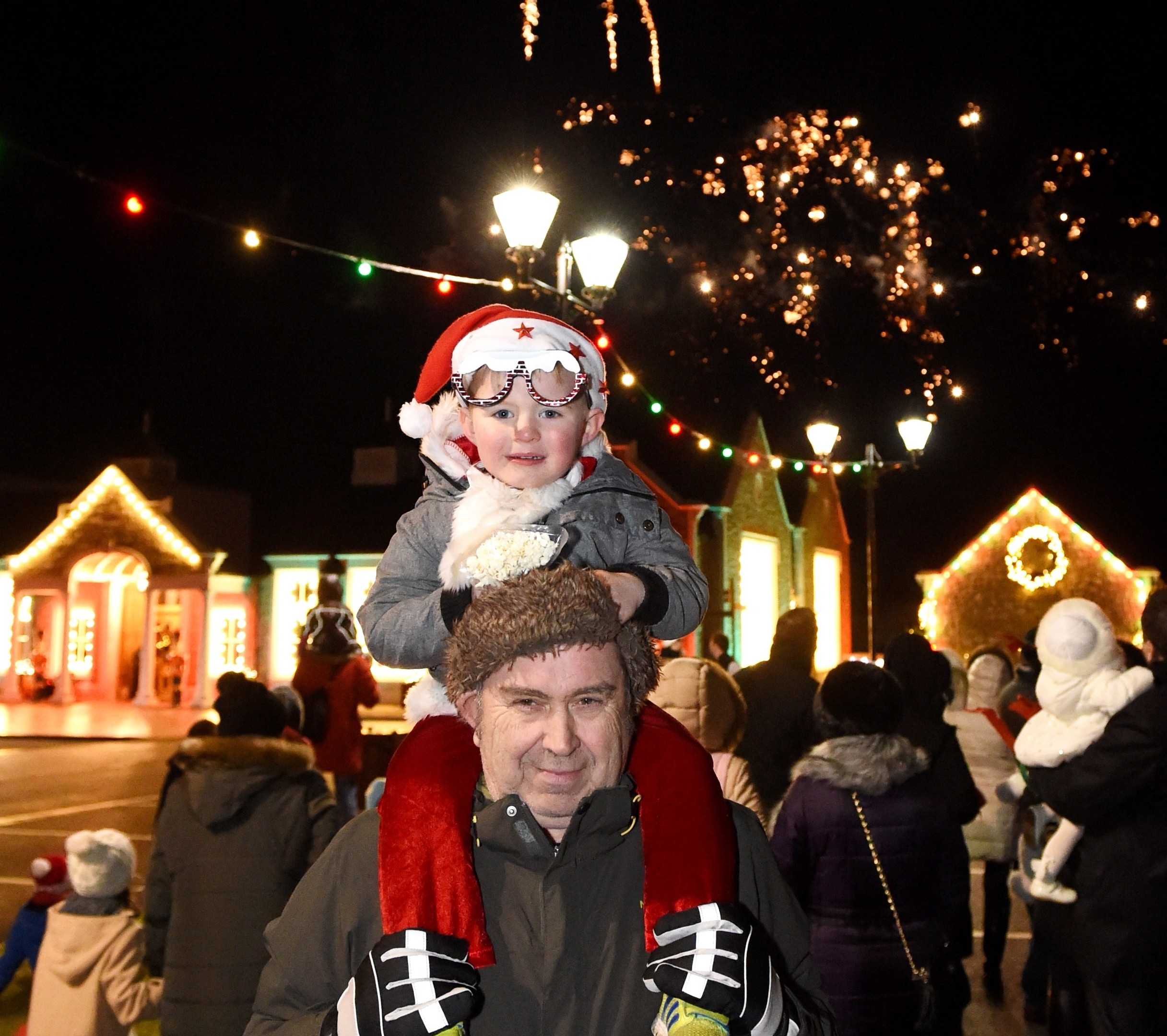 Sam Wilson and Doug Buchan at the Christmas light switch on at Trump International Golf Course.