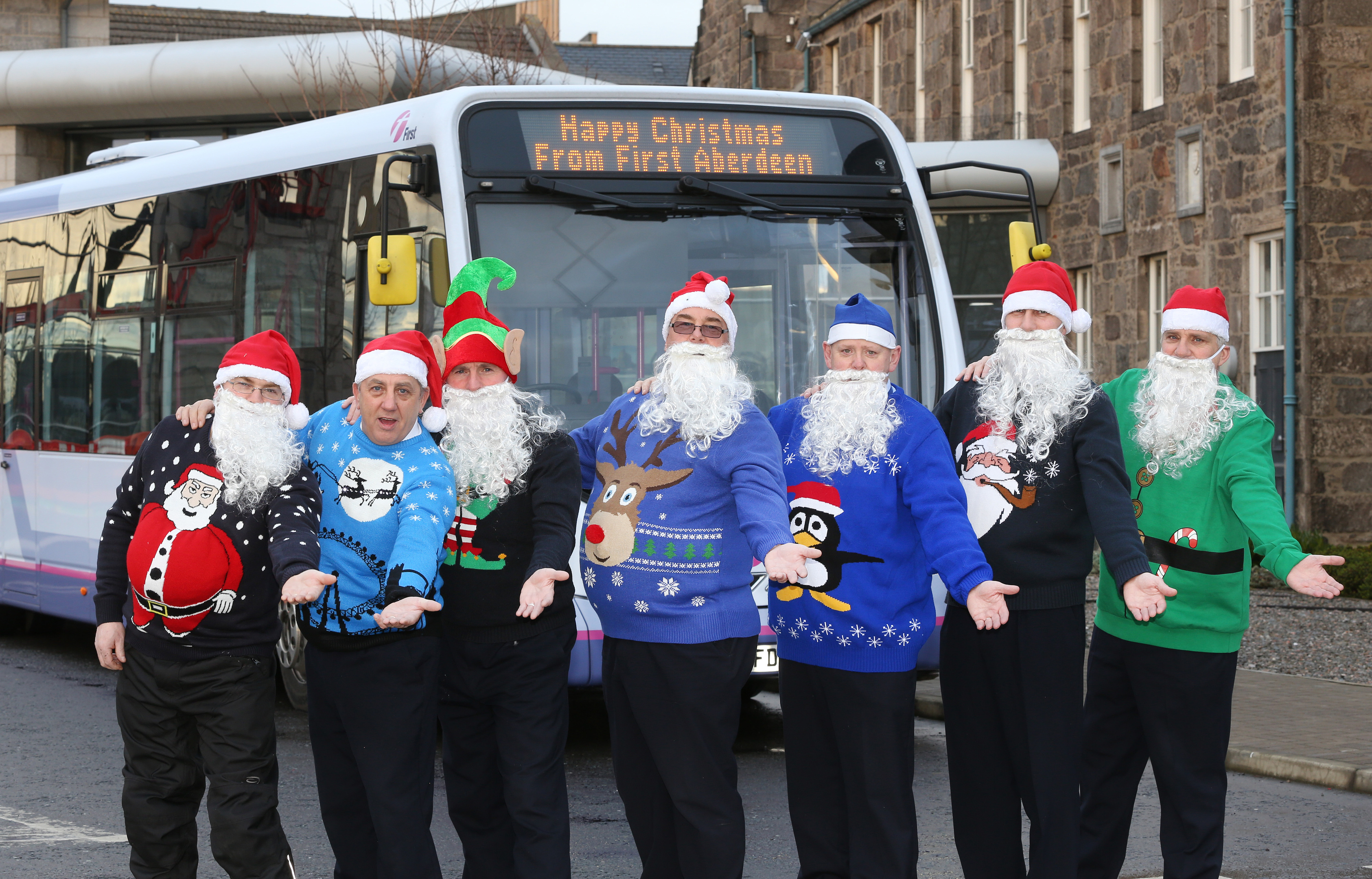 Some of First Aberdeen's drivers in their Christmas knits.