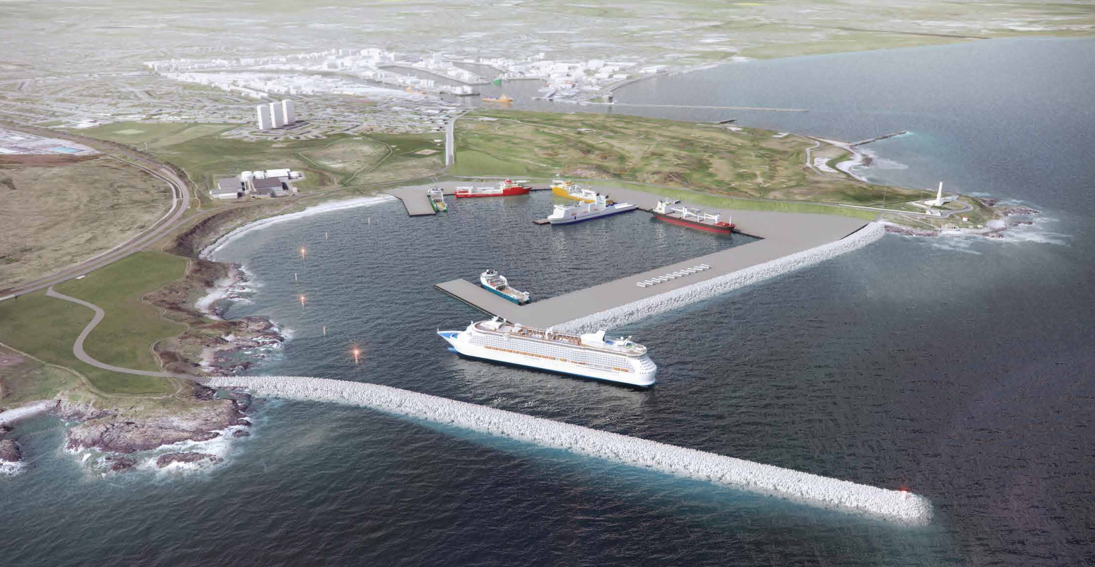 An artist's impression of the proposed harbour at Nigg Bay