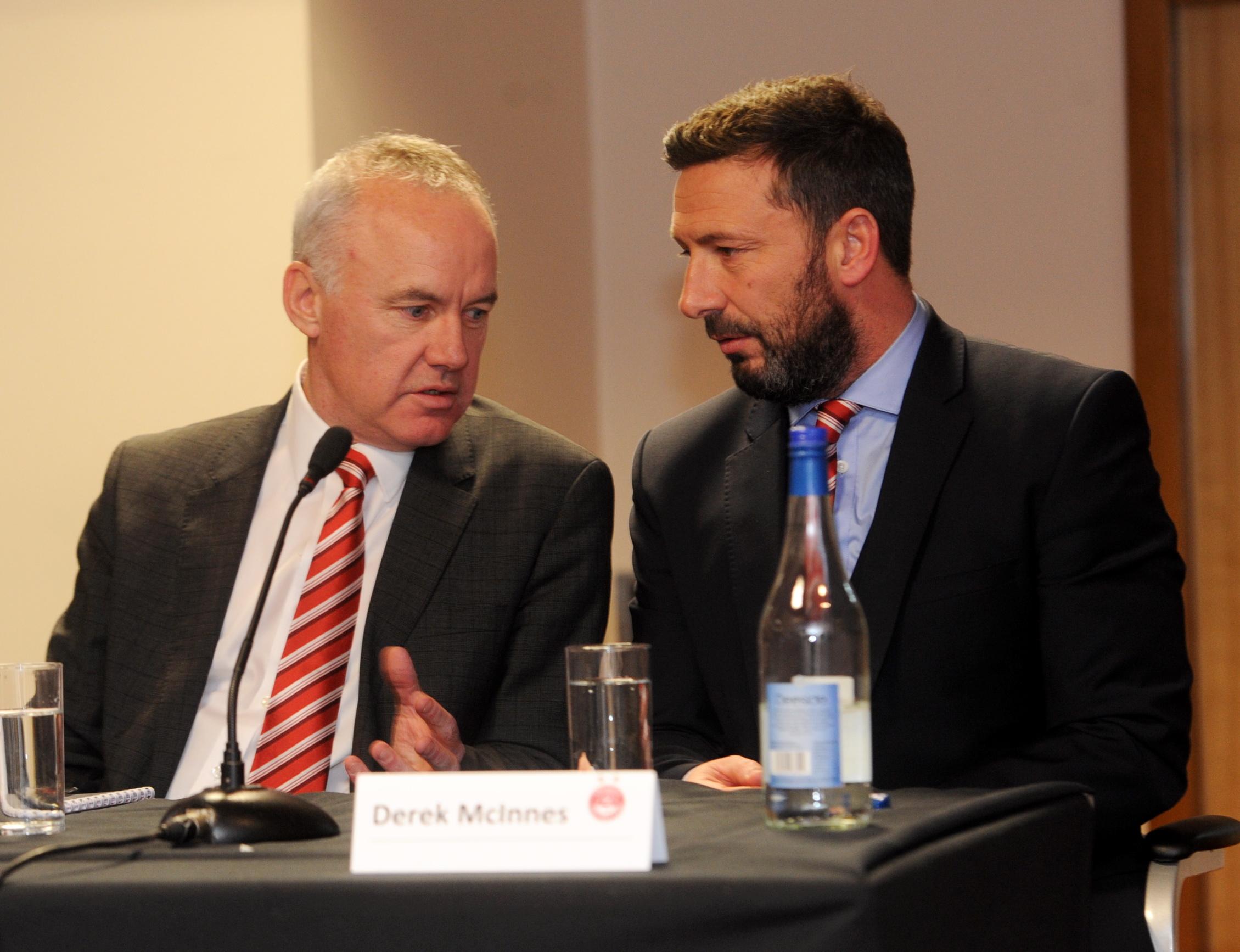Ian Jack, left,  and Derek McInnes at Aberdeen Football Club's AGM