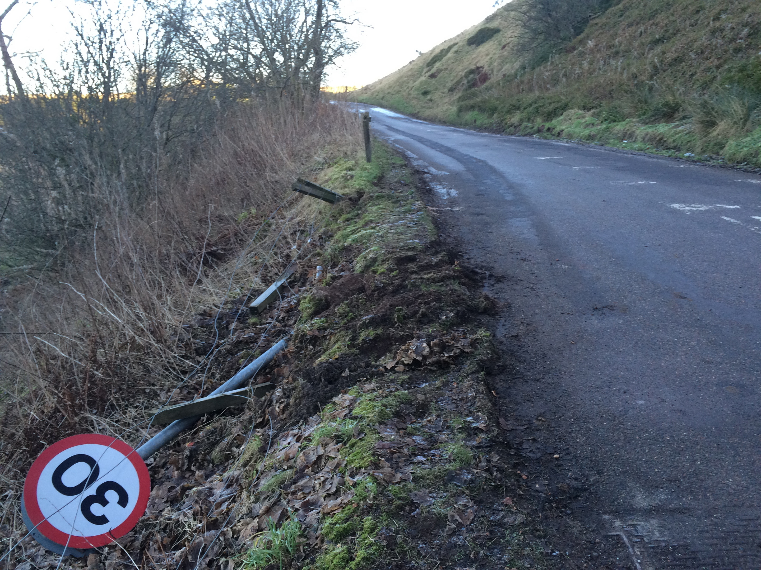 Shirley and Stan Castles' car  hit black ice and smashed into fence posts and a road sign at the entrance to Auchenblae.