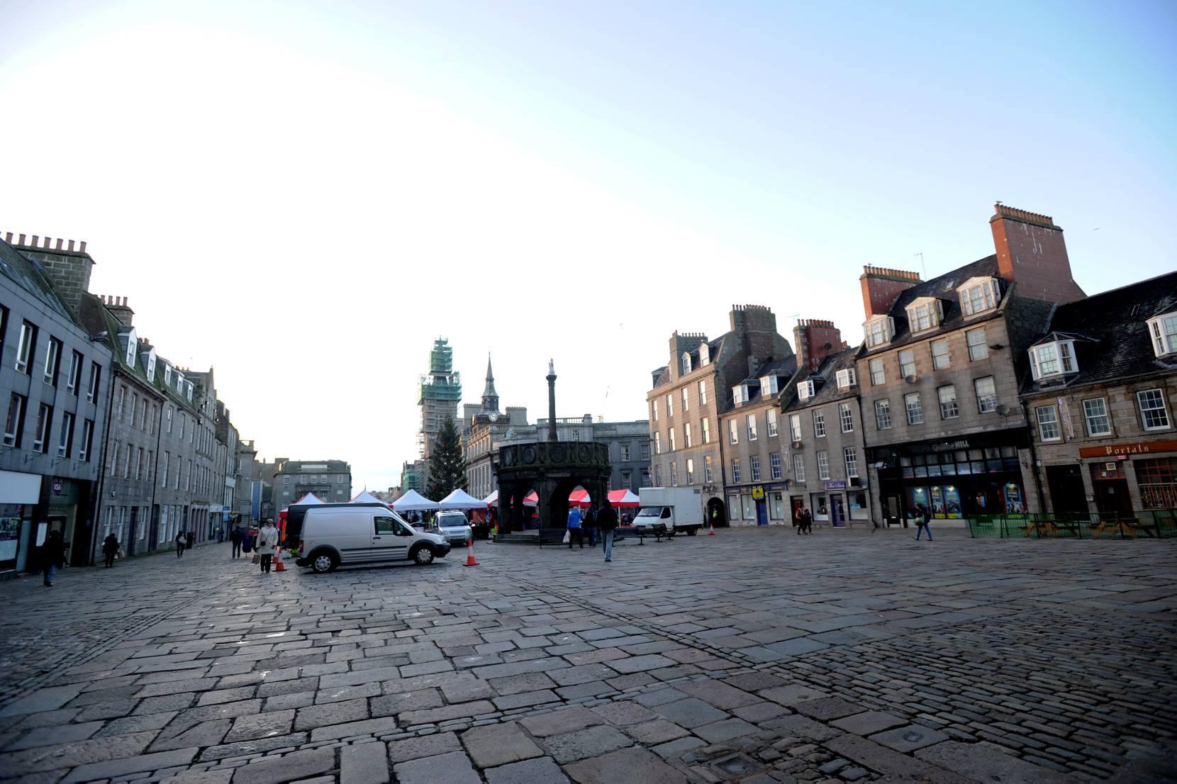 Aberdeen's historic Castlegate looking towards Union Street