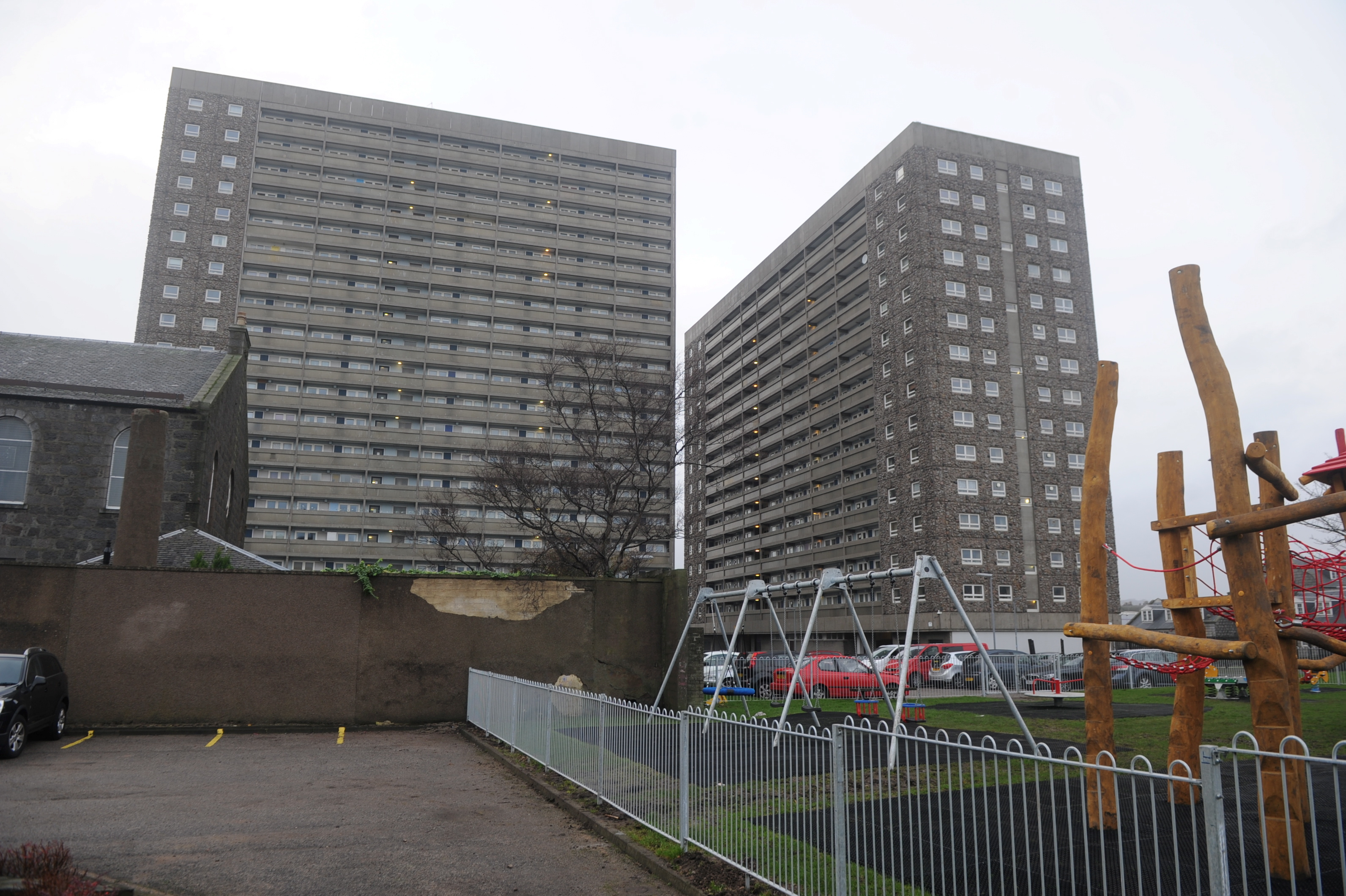 Hutcheon Court and  Greig Court were raided over Christmas Eve and Christmas Day