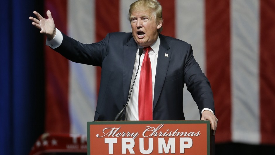 Donald Trump addresses supporters at a campaign rally in Michigan (AP)