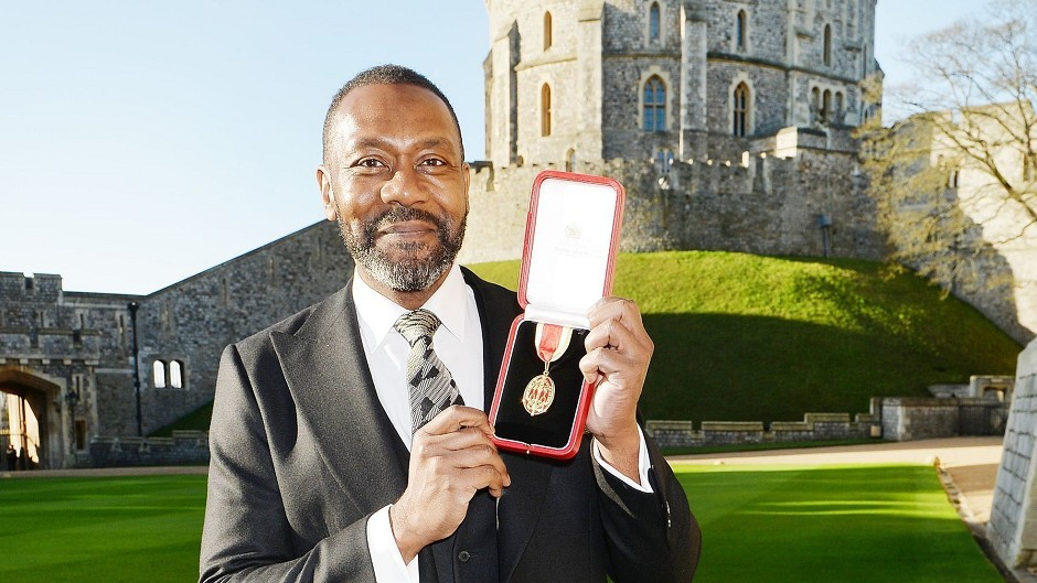 Sir Lenny Henry after receiving a knighthood from the Queen
