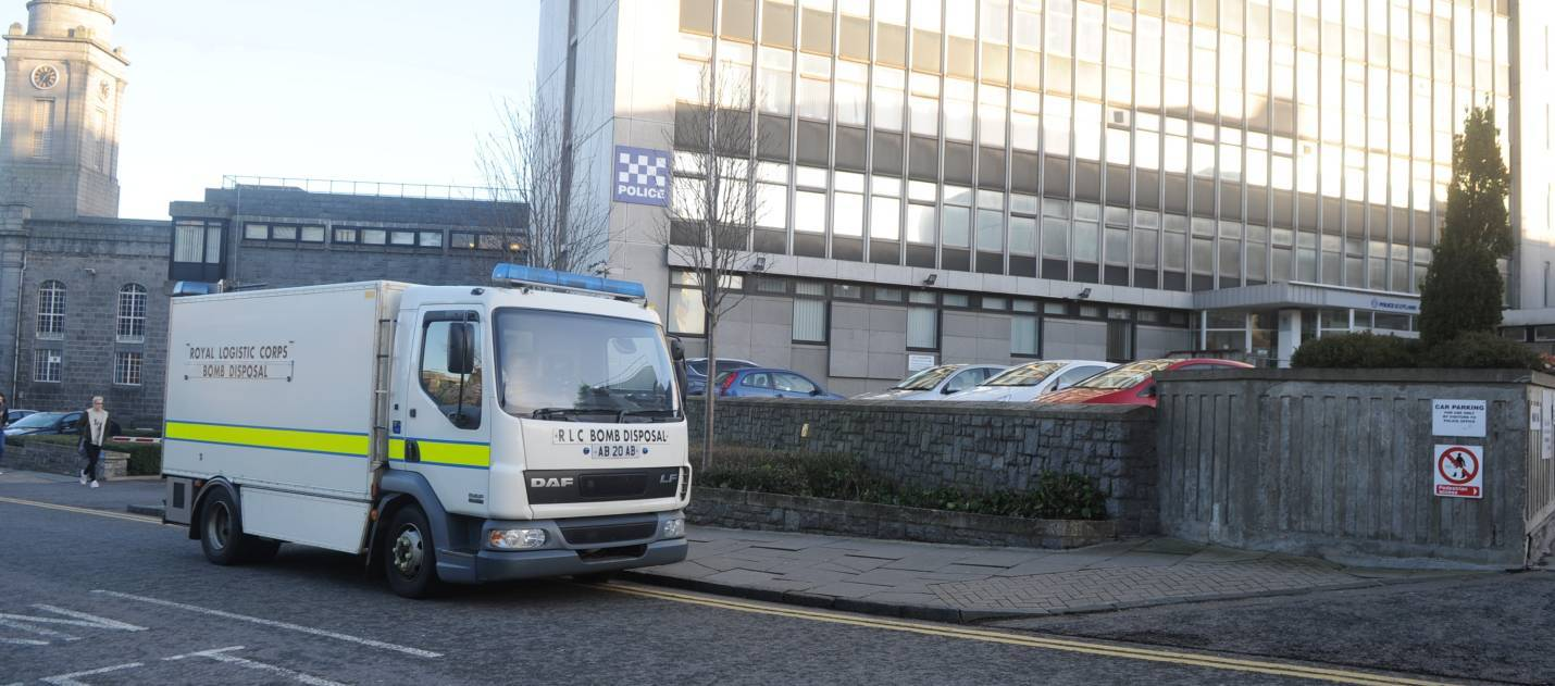The bomb squad van outside Queen Street police station.
