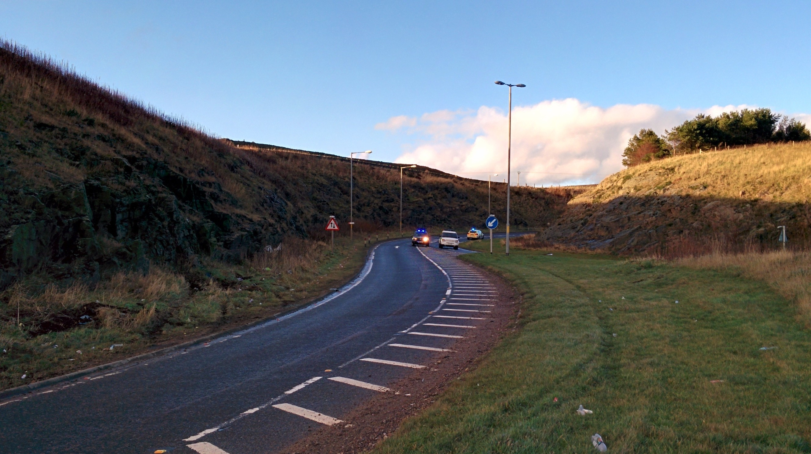 Police at the A90 slip road today