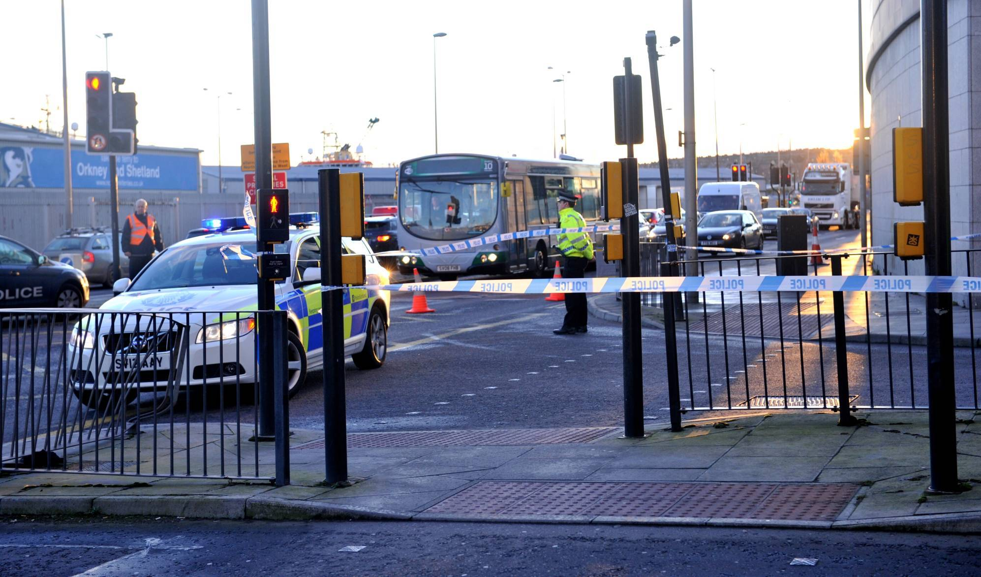 Police at the scene of the Market Street accident yesterday