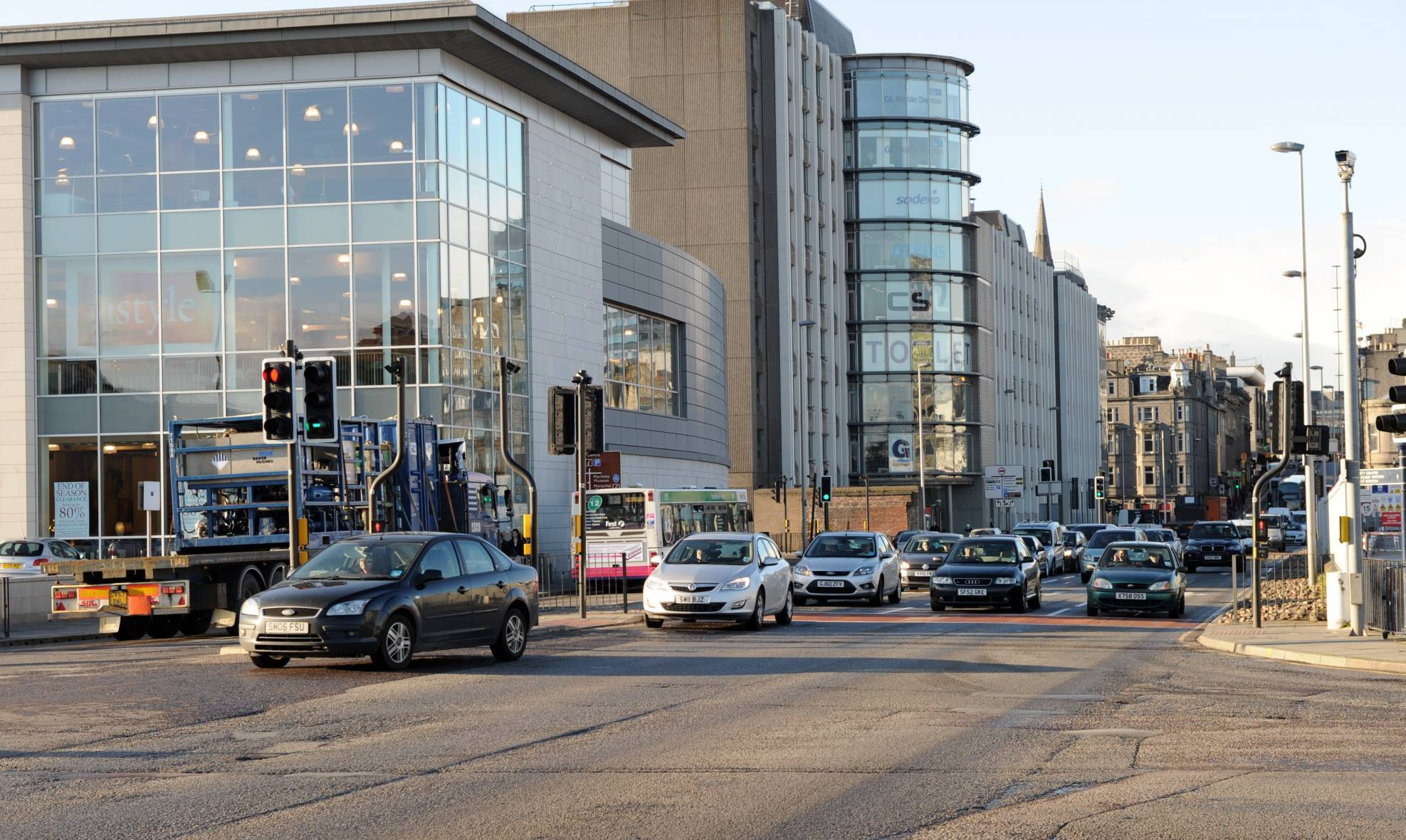 Traffic is slow around Aberdeen's Union Square.