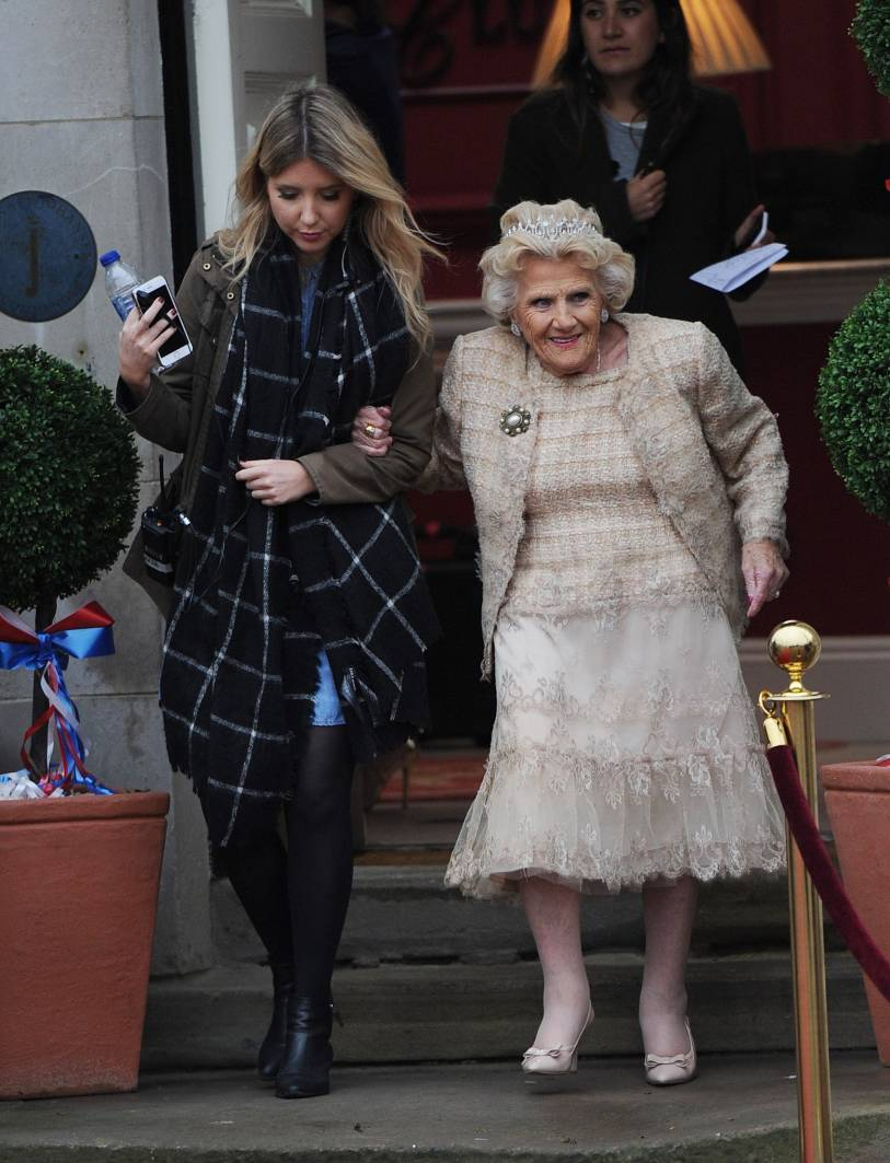 The TOWIE cast are seen filming scenes for Nanny Pats Royal themed 80th birthday on November 8.