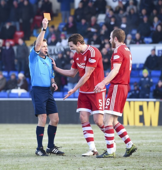 Aberdeen's Mark Reynolds (right) is sent off