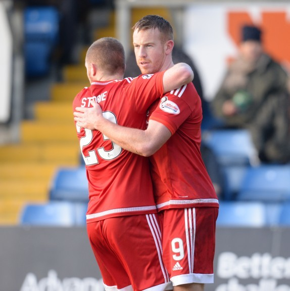 Aberdeen's Adam Rooney celebrates after making it 1-1.