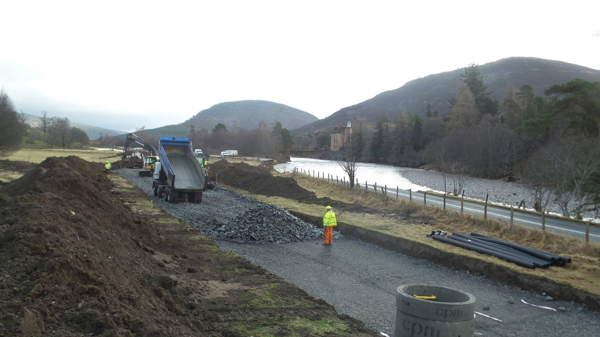 Work is progressing on the temporary road. Picture: Simon Blackett