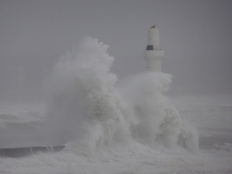 Waves battered the Aberdeen coastline yesterday. Picture by Iain Henderson.