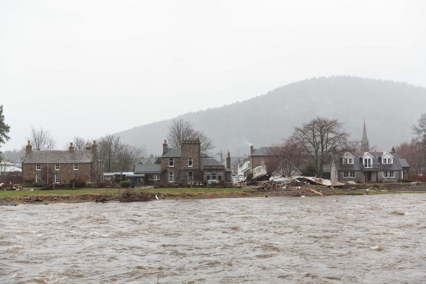 The effect of the flooding  is clear to see in this view across the river at Ballater.