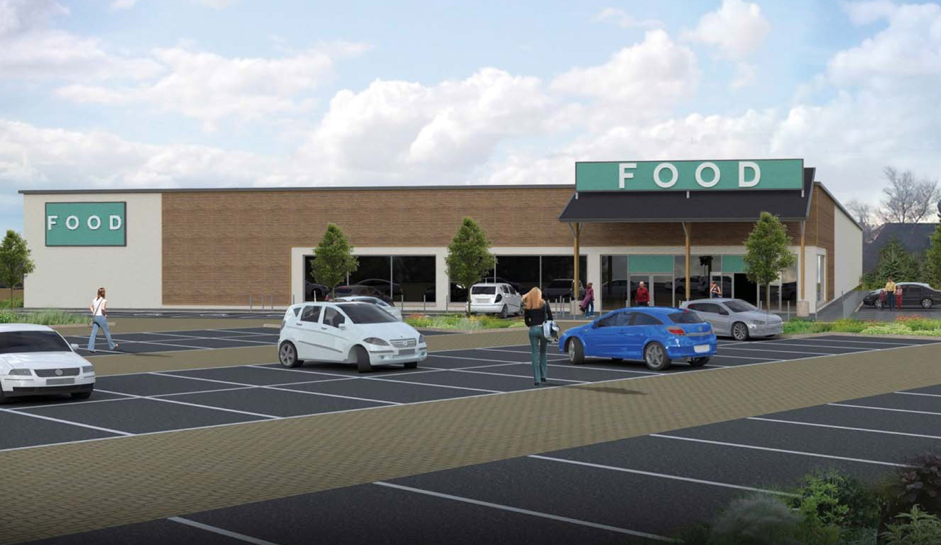An artist's impression of the proposed Mains of Ury supermarket.