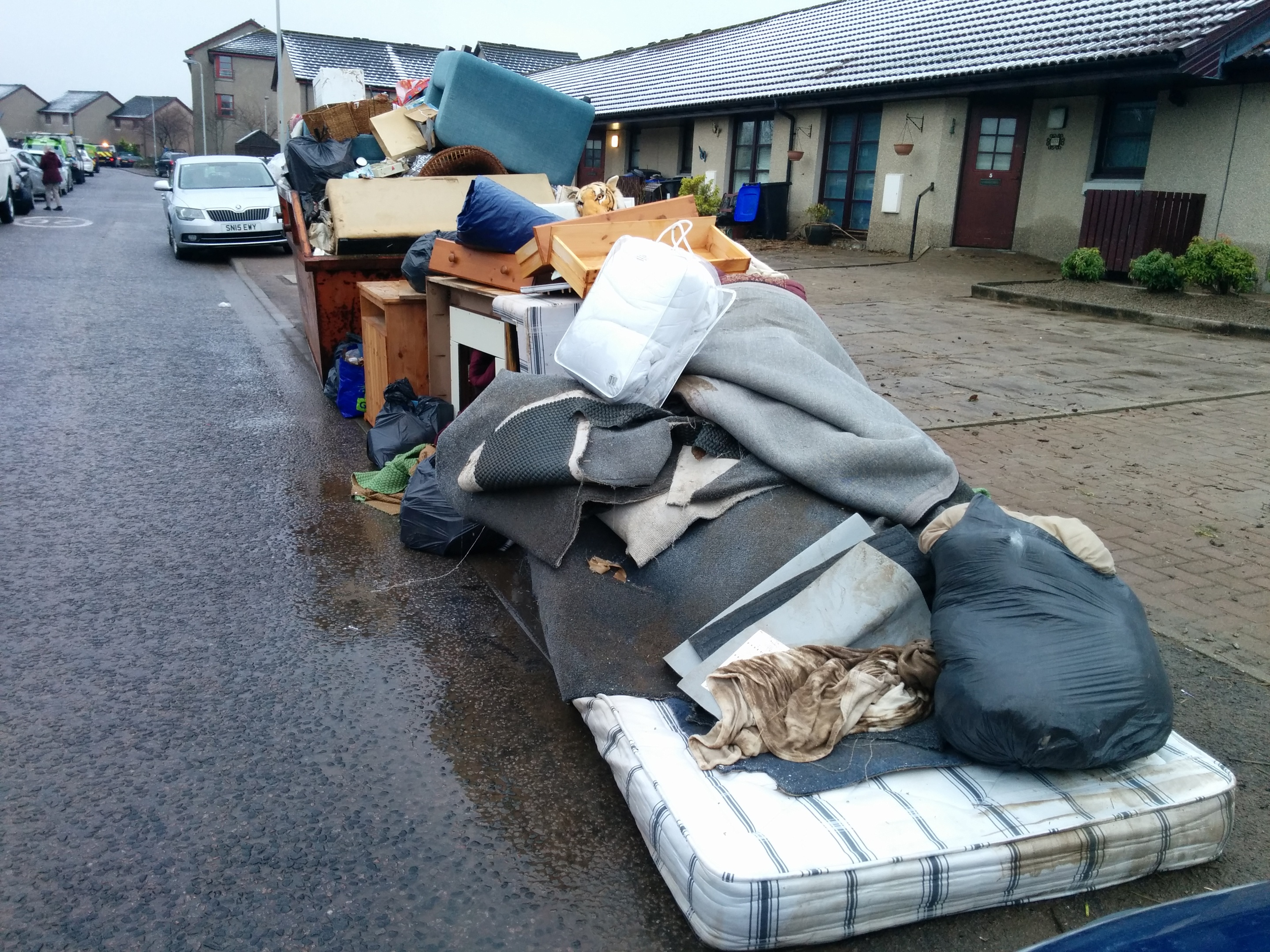 Some of the sodden belongings on the street in Port Elphinstone
