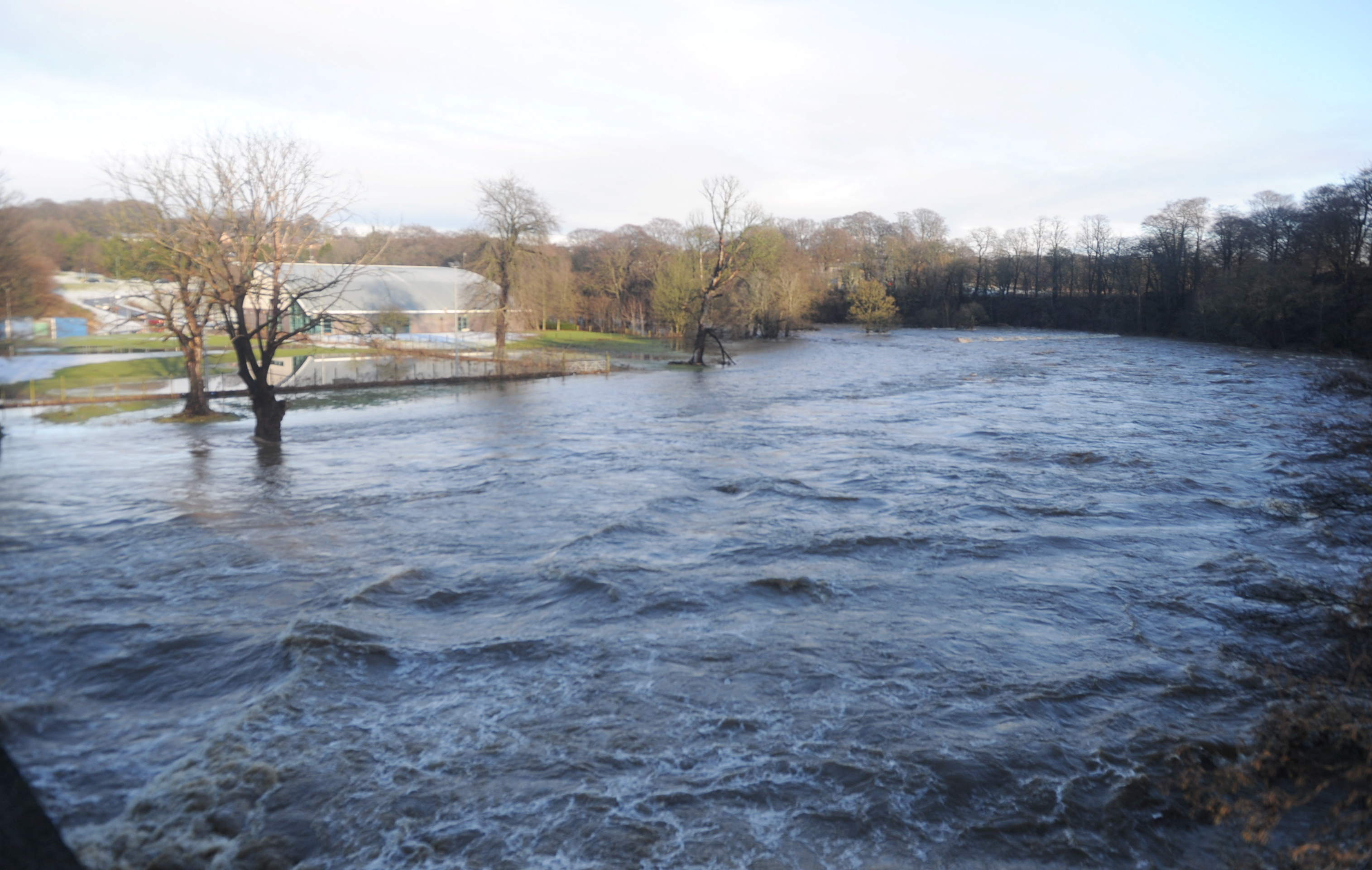 The River Don burst its banks causing  the lade at Stoneywood Mill to back up.