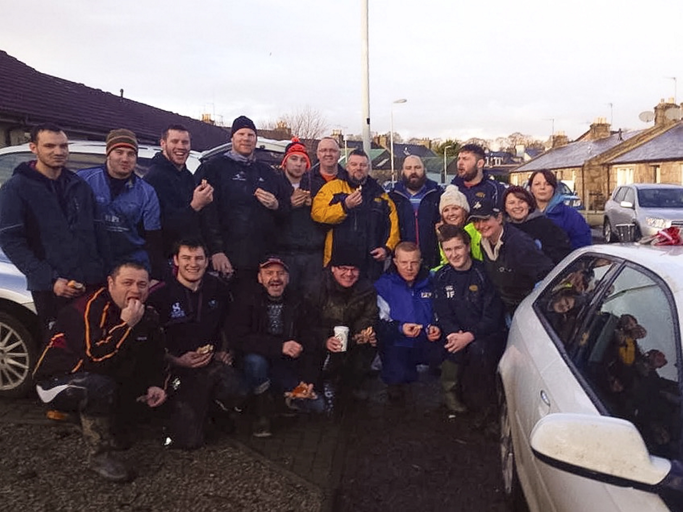 The guys and girls from Garioch RFC enjoyed a well-earned bacon roll, donated by local business man and Garioch fan, Gary Cox.